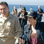 CMDCM Macias & Ponzi on the flight deck of the USS Green Bay