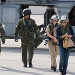 Pilots, LT Shultis, Ponzi getting off the CH-46 Sea Knight helicopter